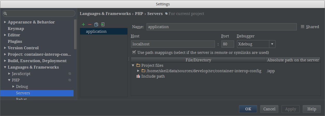 PhpStorm Path Mappings